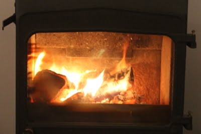 Blazing fire in a stove
