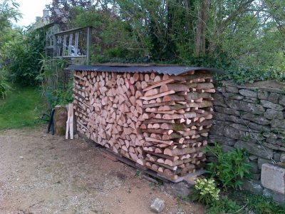 Craftily stacked logs in Gloucestershire